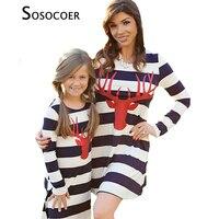Mother Daughter Dresses Clothes 2017 Autumn Chirstmas Deer Matching Mom Daughter Dress Long Sleeve Stripe Dress