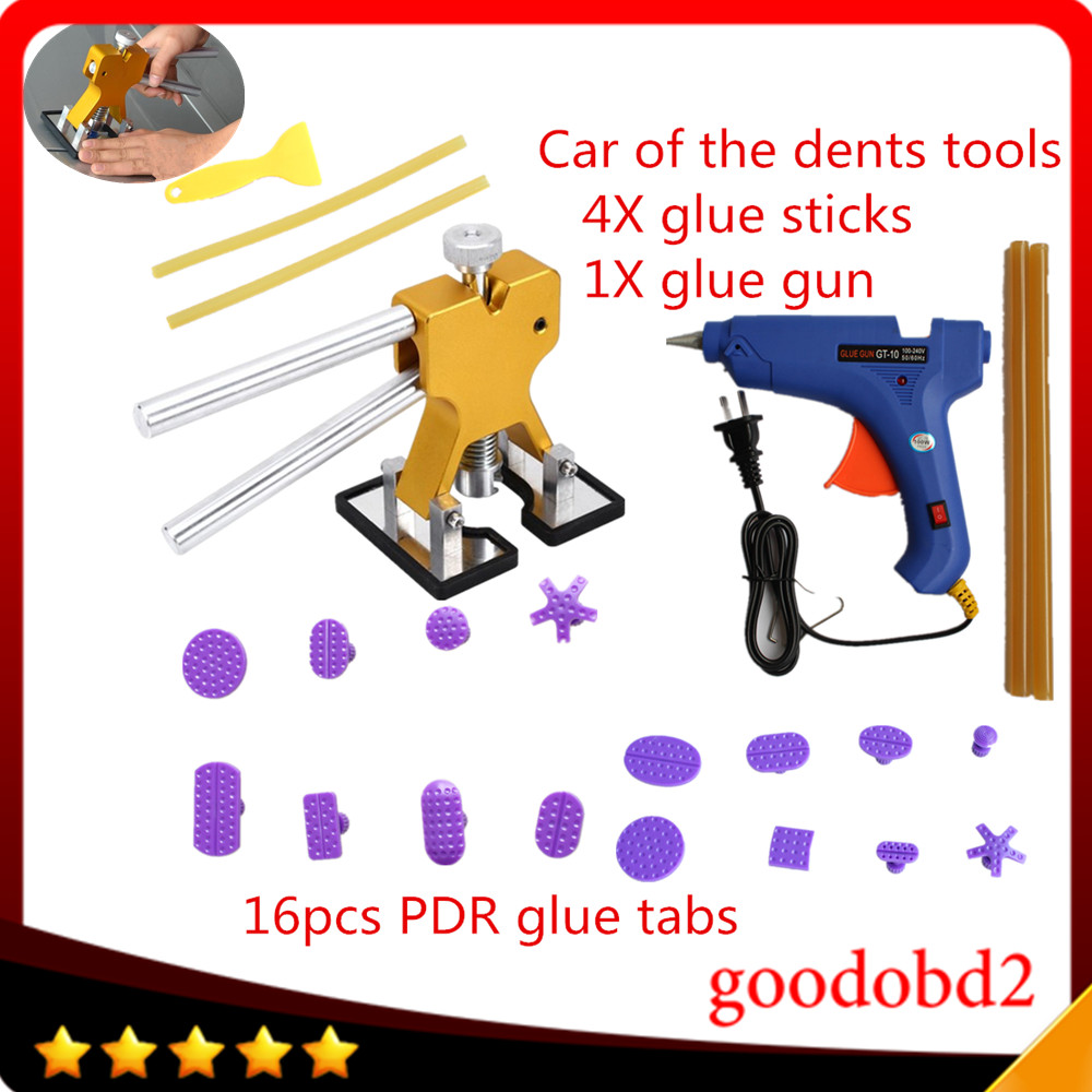 16 pc Car Auto Corpo Paintless Dent Repair Removal Tool Kits de Cola extrator com Levantador + PDR Dent bastões de cola pistola de cola 100 W + 4X para VW