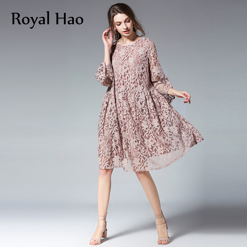 56fc80dcc20 2018 High Quality Vintage Elegant Lace Dress Women Outing Knee-Length  Casual Dresses Lady Office Dress Plus Size 4XL