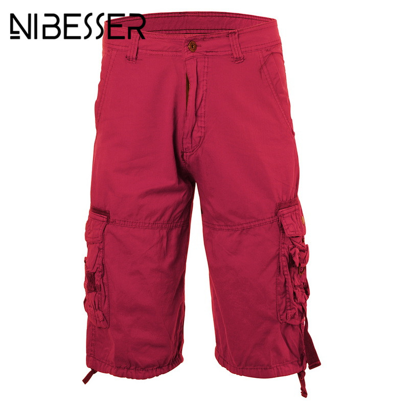 NIBESSER Plus Size Military Cargo Mid Waist Shorts Army Camouflage Tactical Shorts Male Solid Loose Work Casual Short Pants Z50