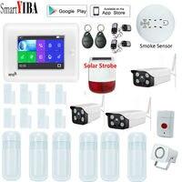 SmartYIBA 3g gsm дюймов Wi Fi 4,3 охранной сигнализации системы ЖК дисплей цвет сенсорный экран Wirless дома DIY 3g 8 язык детектор движения