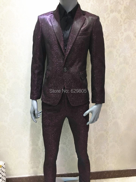fee7654367e95 Plus Size Fashion Men s Suits Set Shining Bright Business Suits Costume  Singer Prom Stage Wear Nightclub