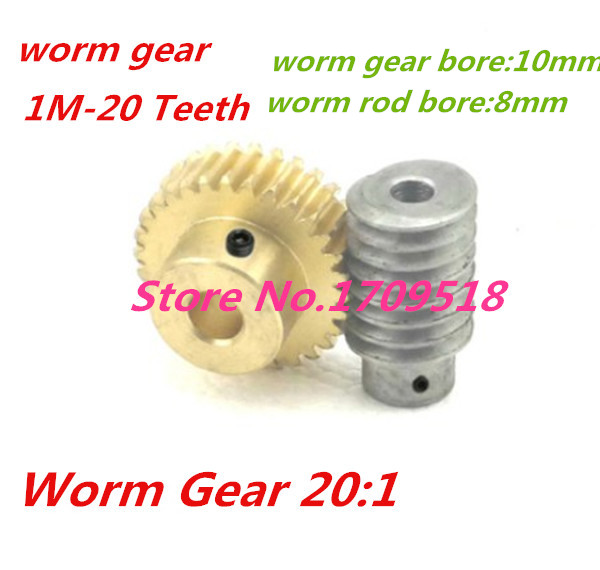 купить 1 sets1M-20T reduction ratio:1:20 copper worm gear hole -10MM rod:8mm metal worm reducer transmission parts онлайн