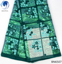 BEAUTIFICAL sequins green lace african fabric dresses  2018 mesh 5 yards hot products small flowers style BN65