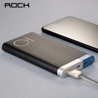ROCK Slim Portable 10000mah Power Bank Internal Battery Charging Mobile Phone Charger With Micro USB In