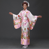 Hot New Pink Japanese Women Silk Kimono Sexy Yukata With Obi Vintage Party Prom Dress Cosplay&Halloween Costume One Size JK072