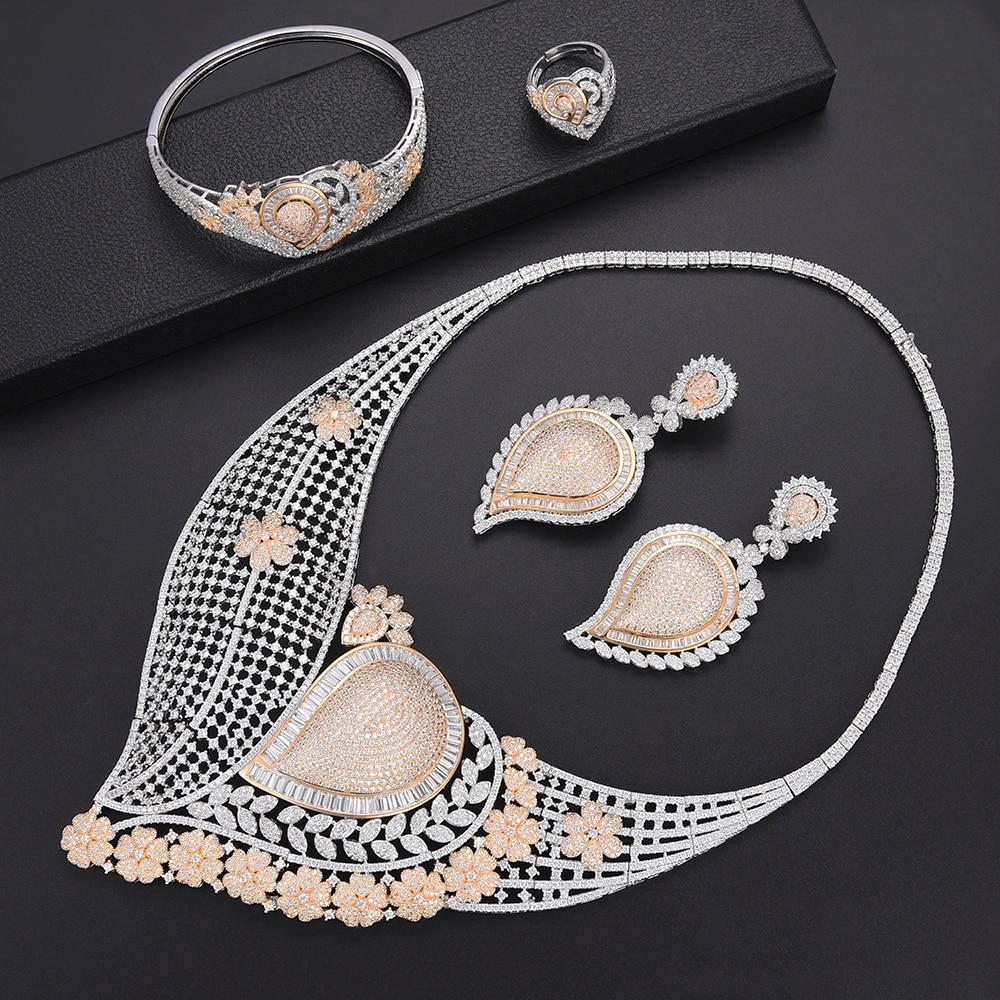 Ensembles de bijoux éthiopiens creux Waterdrop pour femmes CZ nigérian africain Dubai collier de mariage boucles d'oreilles Bracelet bague ensemble de bijoux