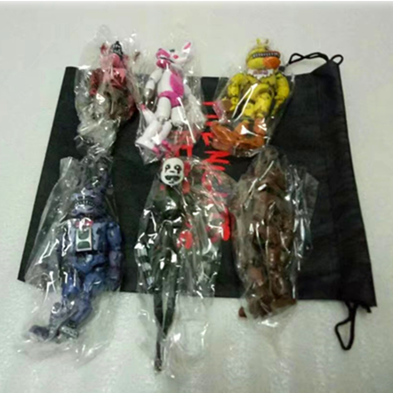 6 pcs / set Lightening Movable sends Five Nights At Freddy's Action Figure Toys Foxy Freddy Chica PVC Model Dolls kids brinquedos