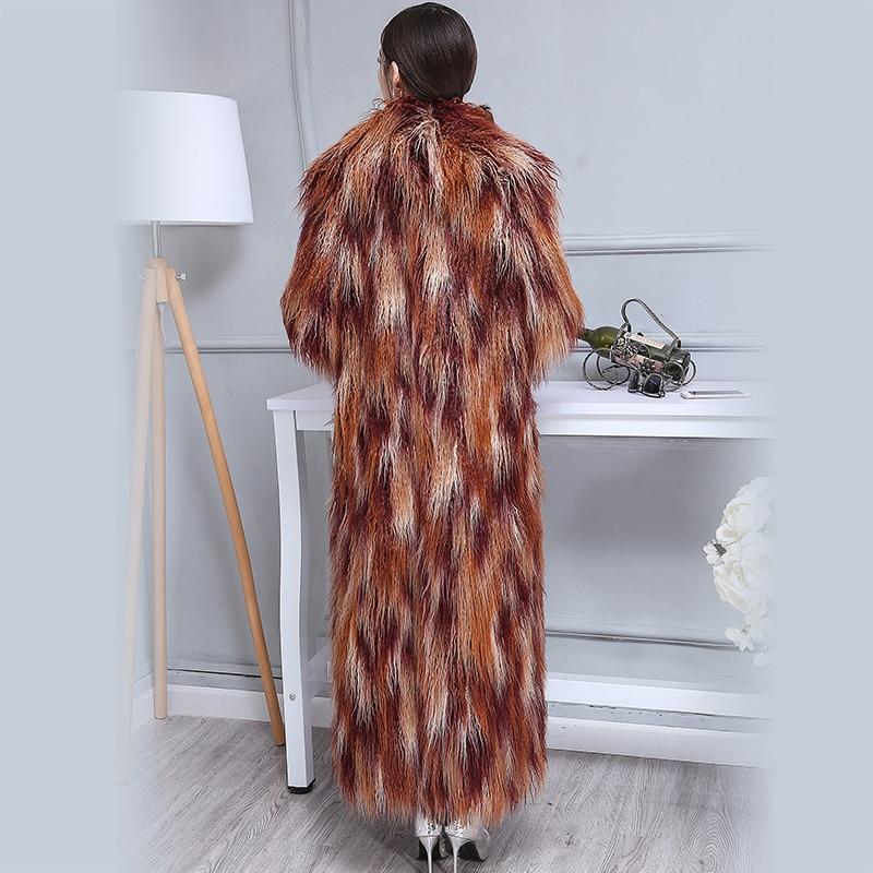 Nerazzurri hiver fausse fourrure manteau femmes 2019 Extra Long coloré Shaggy poilu Maxi grande taille mongole mouton manteau de fourrure 5xl 6XL-in Fausse fourrure from Mode Femme et Accessoires    2