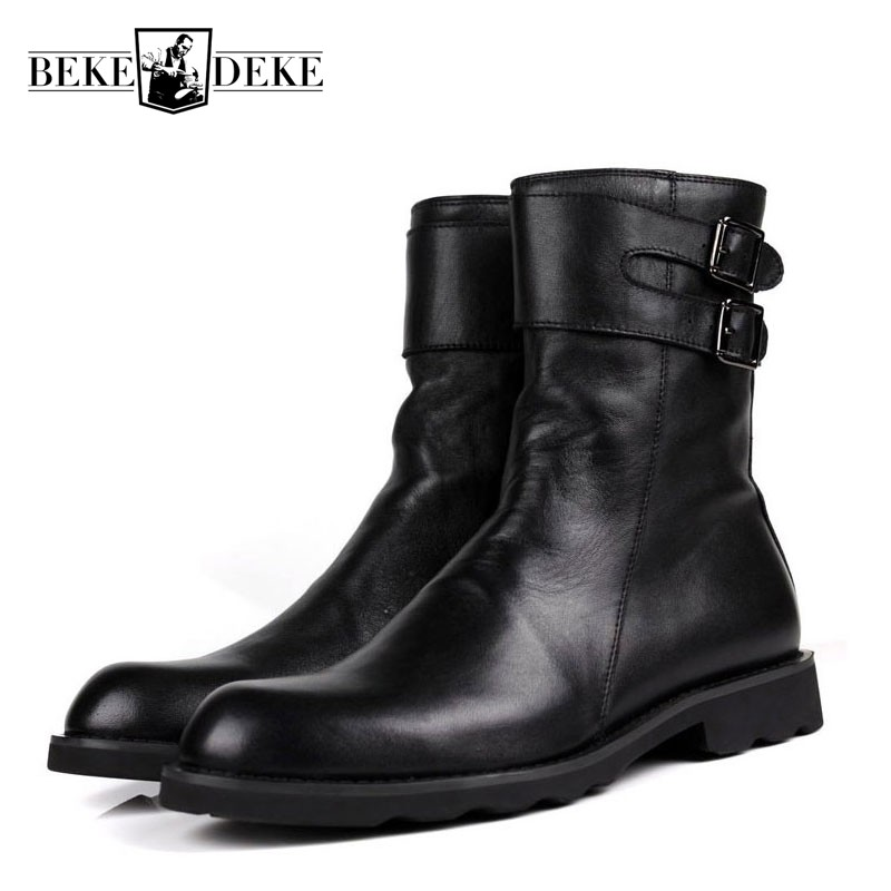 Personality Buckle Design Mens Punk Motorcycle Boots Luxury Genuine Leather Flats Shoes Male High Top Casual Zip Martin Boots pjcmg high top italian luxury brand casual mens dress shoes genuine leather design flats for men party size 6 10
