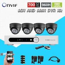 TEATE TPC AHD segurança sistema de câmera 8ch Full D1 960 H HDMI 1080 p DVR com 4 pcs 700TVL Dome câmera de Vigilância kit CK-202