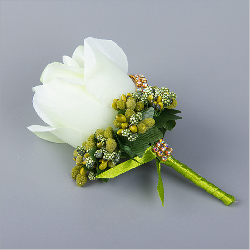 Handmade Wedding Boutonniere Groom Groomsman Corsage Artificial Flower Silk Rose Man Suit Brooch Flowers White Roses Corsages In Dried