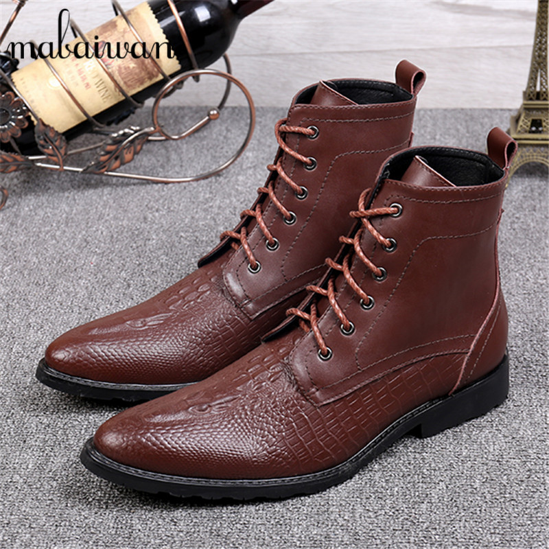 Brown Men Ankle Boots Spring Autumn Genuine Leather Cowboy Boots Pointed Toe Lace Up Mens Military Boots Safety Shoes Footwear brown men ankle boots spring autumn genuine leather cowboy boots pointed toe lace up mens military boots safety shoes footwear