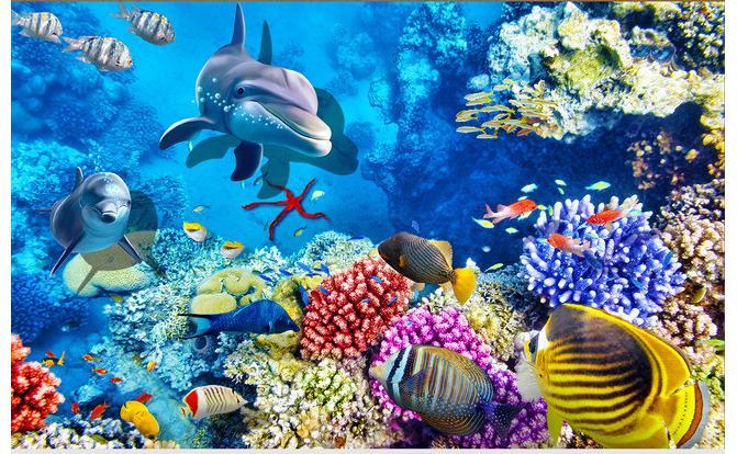 مخصص الصورة للماء الطابق خلفيات الأسماك دولفين المرجانية