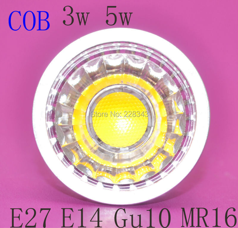 Free shipping 10/lot 3w 5w E27 E14 MR16 Gu10 Gu5.3 cob led spotlight AC 85V-265V 110V 220V LED Bulb Light Spot LED Lamp