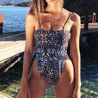 Bikini Push up swimsuit solid swimwear high cut one-piece 1