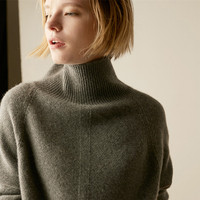 Autumn and Winter New High Collar Cashmere Sweater Women's Loose Head Thickening Lazy Long Sleeved Large Size Wool Sweater Tide