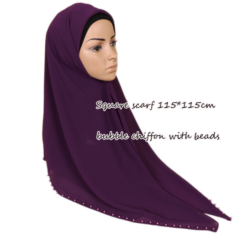 square scarf plain bubble chiffon shawls with pearls muslim hijabs head wrap beads shawls scarves scarf