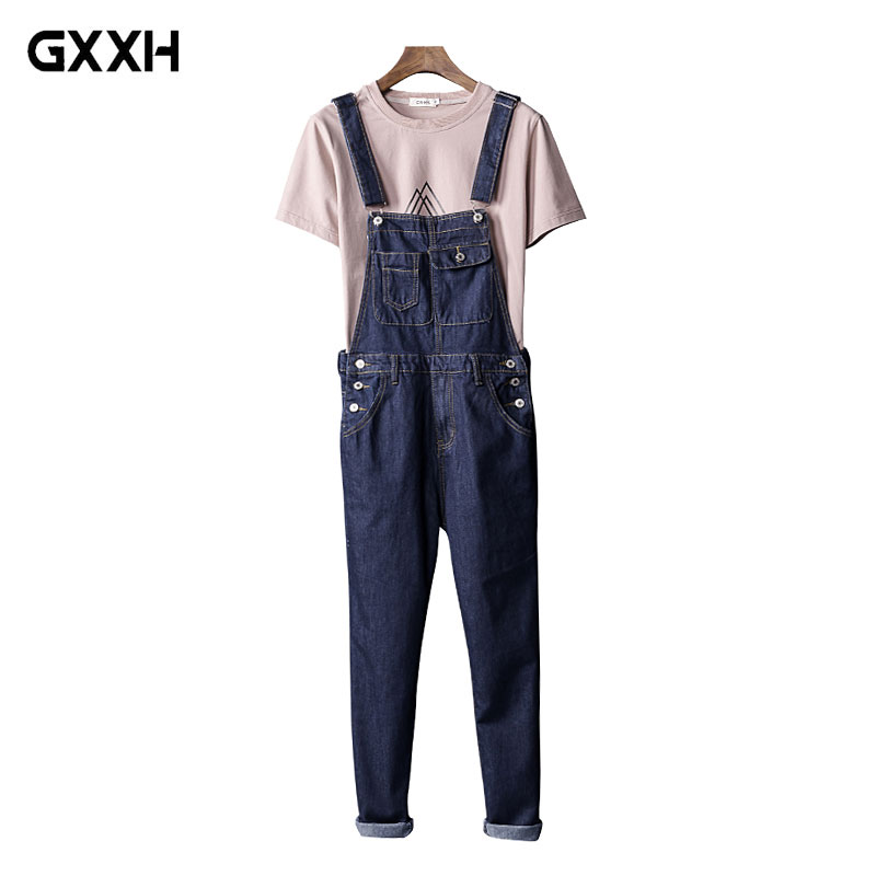 Japanese Siamese jeans Male Korean Slim trousers Couples Bibs Male tooling Suspenders Me ...