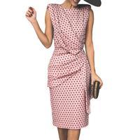 Новое поступление; вечерние элегантные женские летние платья в горошекПлиссированное Платье миди без рукавов
