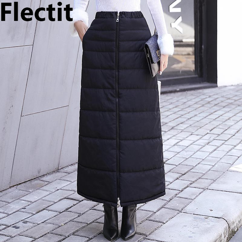 Flectit Black Quilted Skirt Front Zip Up Pocket Ankle Length Long Thick Skirt Winter Womens Warm Clothing Skirt Plus Size XXL