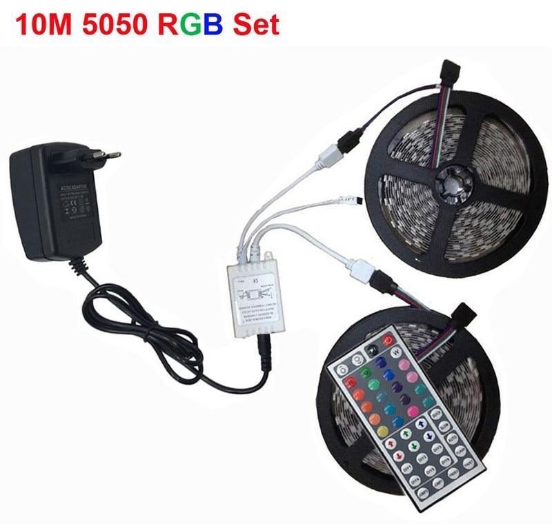 LED Strip Light RGB 5050 SMD 2835 Flexible Ribbon fita led light strip RGB 5M 10M 15M Tape Diode DC12V 60LEDs 1M+Control+Adapter