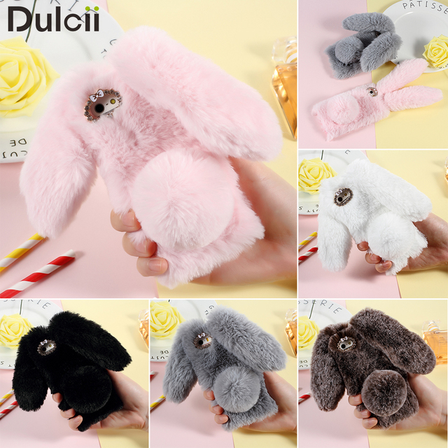 Dulcii For iPhone5 5s SE Case Bunny Shape Warm Fur TPU Cover for Apple iPhone 5 5 S S E Mobile Phone Cute Coque Shell Fundas