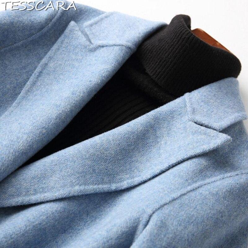 En Mélange Laine Femmes Cachemire amp; Manteau Hiver Automne Tesscara Vestes Bouton De Manteaux Femme Blue Pardessus Veste Seul Base 8wqOFY