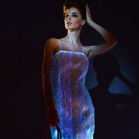 [CHENS SISTER] High Quality Spaghetti Sling Club Luminous Dress Elegant Party Dress Slim Sparkly Women LED Tron Dance Wear