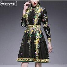 Svoryxiu flor Vintage estampado de fiesta negro Vestido corto vestido de  las mujeres manga larga elegante diamante pista Primave. c4bdd0a5784d