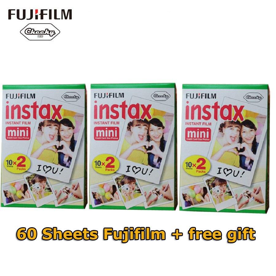 Original Fuji Fujifilm Instax Mini 8 Film 60 pcs White Edge Photo Papers For Polaroid 7s 8 90 25 55 Share SP-1 Instant Camera