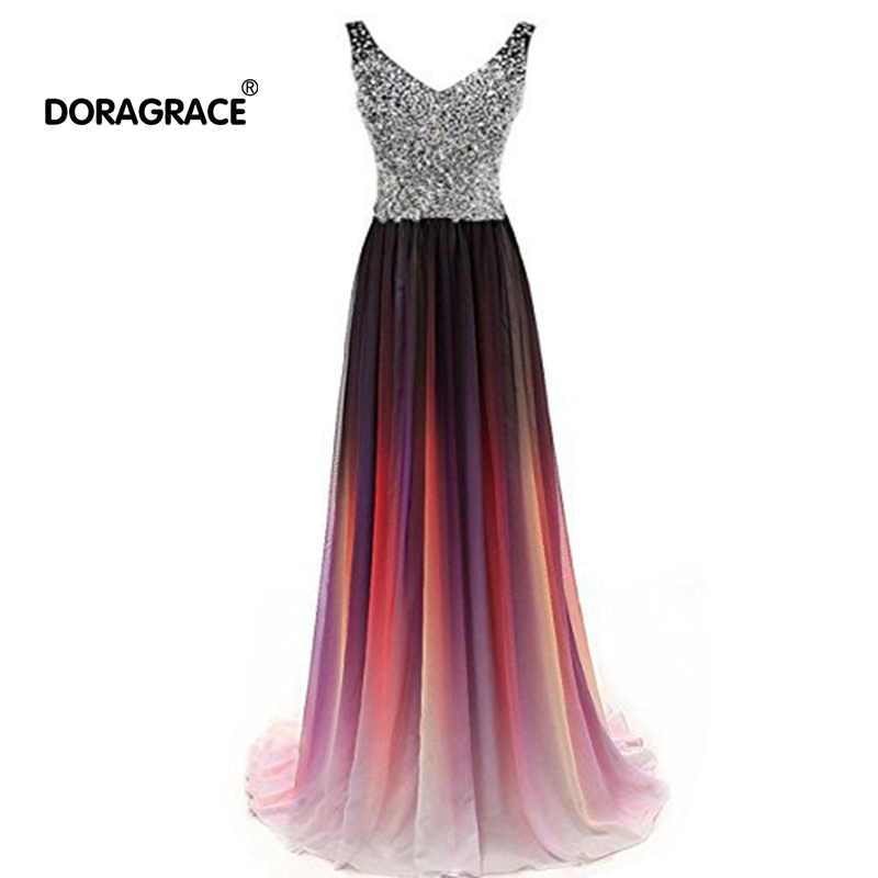 Doragrace robe de soiree Beaded Chiffon V-Neck Sleeveless Plus Size Gradient   Evening     Dresses   Long Prom Gowns