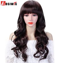 Synthetic Hair Long Wavy Curly Wig With Bangs Costume Halloween Party Heat Resistant Cosplay Wig For Women AOSIWIG(China)