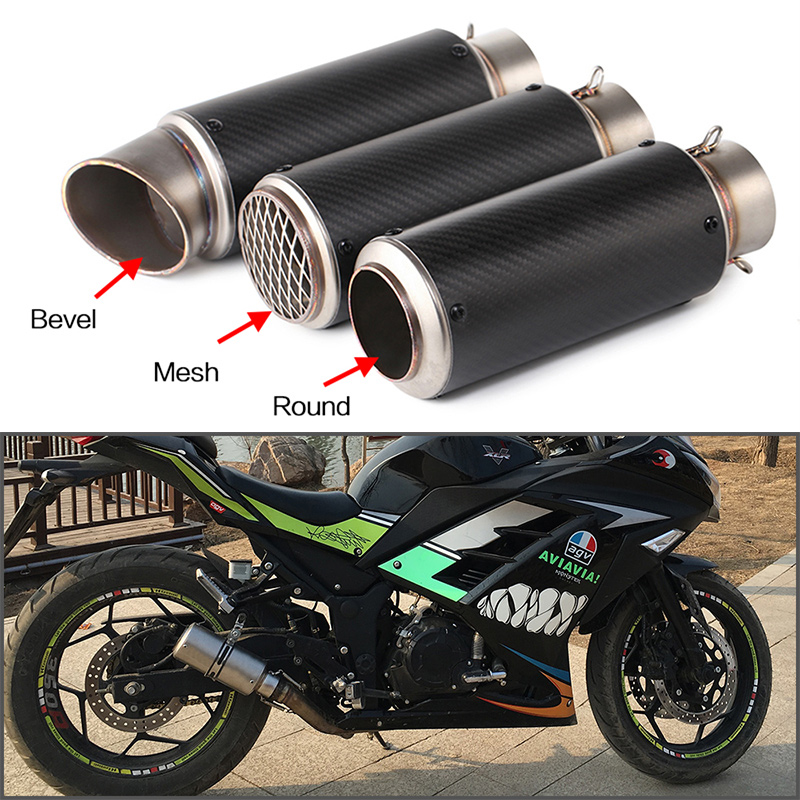 Motorcycle muffler exhaust pipe escape moto modified sportster carbon fibre  exhaust for cb400 fz1 cb650f nc750 51 60mm silp on