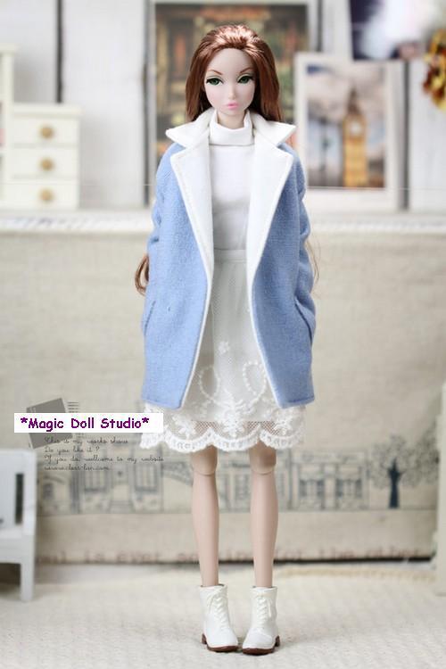 Fr066 2015 Hot Sale 12 Inch Fashion Doll Clothes Blue Linen Cotton