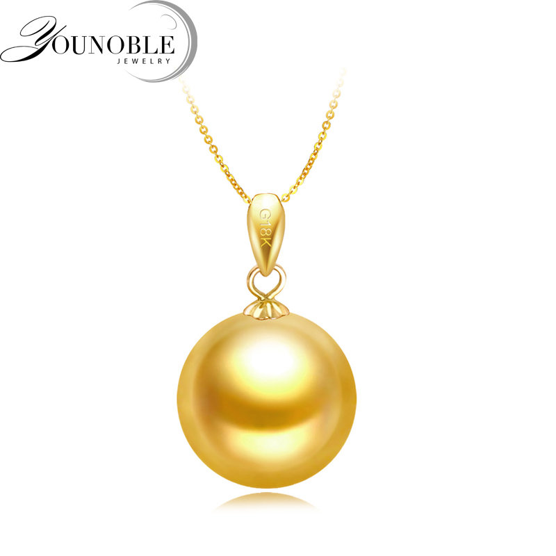 Wedding 18K Gold Pendant Real Natural South Sea Round Pearl Necklace Women Anniversary Gift