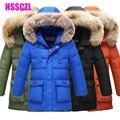 2016 novos meninos jaqueta de inverno engrossar casacos jakcets parka casaco casaco de criança das crianças ceia gola de pele com capuz 130-170