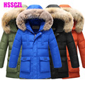 2016 nuevos niños abajo chaqueta de invierno parka jakcets de espesar los niños ropa de abrigo capa del niño cena cuello de piel con capucha 130-170