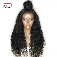 Elva Hair Brazilian Remy Hair Full Lace Wig Deep Wave Hair Wig Glueless Pre Plucked Hairline
