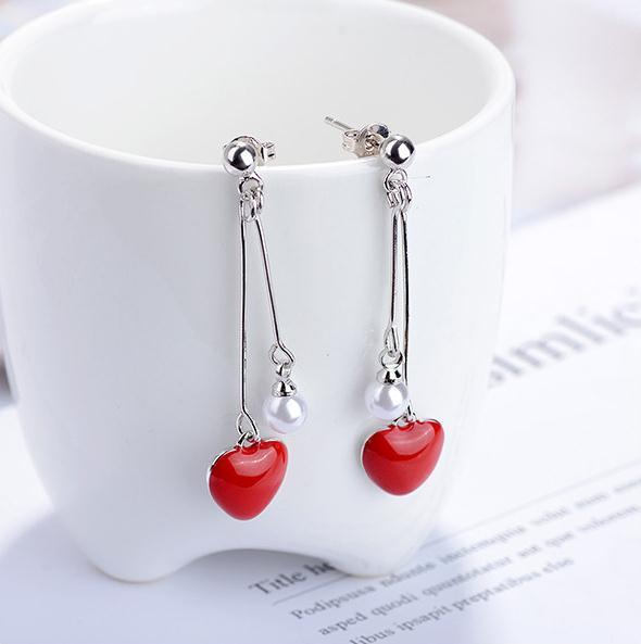 100 925 sterling silver romantic red love heart pearl ladies tassels stud earrings jewelry female wedding gift Anti allergy in Stud Earrings from Jewelry Accessories