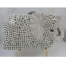 ELEPHANT silver Crystal Animal Wedding Bridal hollow Metal Evening purse clutch bag handbag box case