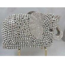 СЛОН серебряный Кристалл Животных Свадебные полой Металлической Вечер кошелек сцепления сумка box дело