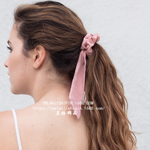 Hair Accessories Candy Colors Knot Ribbon Scrunchies Girls Pinytail Holder Simple Elastic Hair Bands For Women Rubber Band