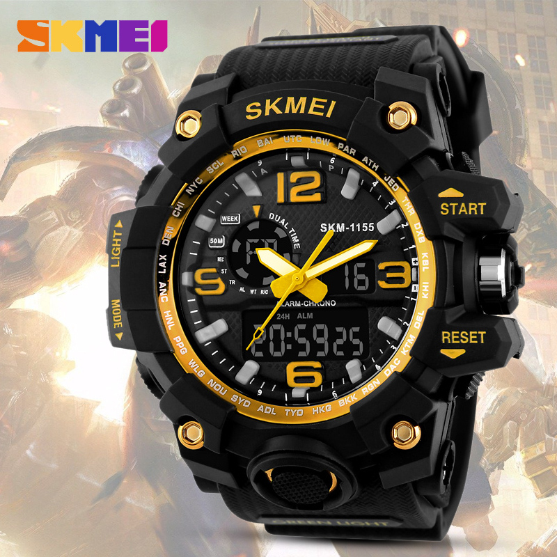 SKMEI Dual Time Display Men Sport Digital Watch Chronograph LED Electronic Analog Wristwatch Military Double Time Waterproof