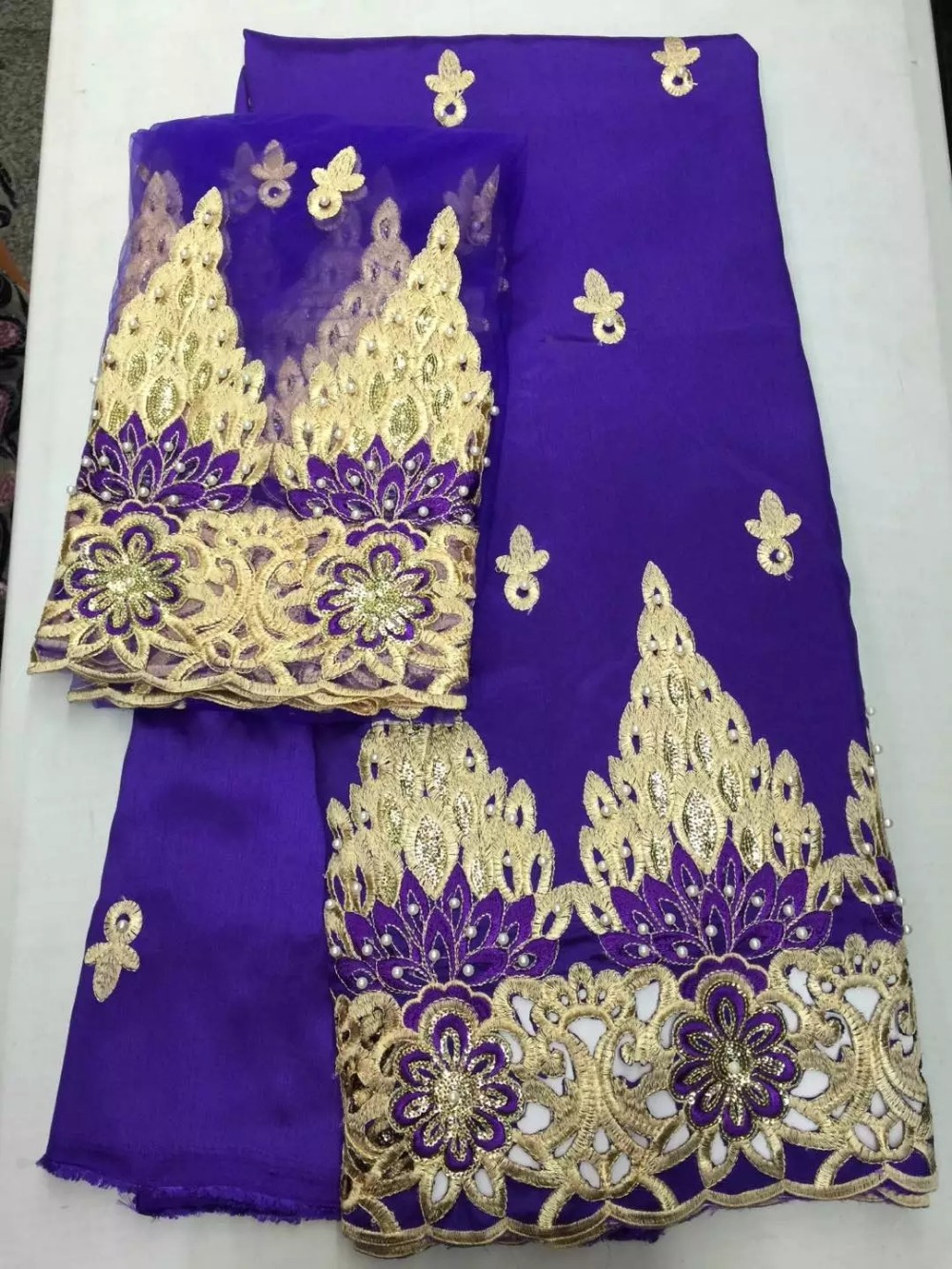 e27416886cd65f African george lace high quality african raw silk george fabric with blouse  for wedding indian raw silk georges Purple color