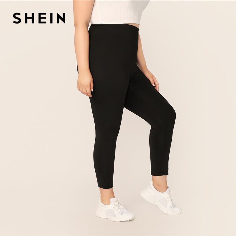 SHEIN Plus Size Black Solid Leggings 2019 Women Casual Crop Basics Long Skinny Fitness Stretchy Sporty Plus Leggings Pants 2