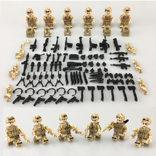 2018 NEW 6PCS Red Sea Special military Soldier Army Weapon Gun SWAT War Building Blocks toys legoinglys Military Figures Toys(China)