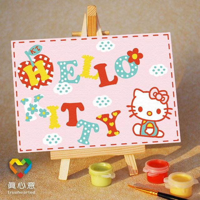 Colored drawing diy digital oil painting cartoon child colored drawing painting pink kt 10 15 belt easel