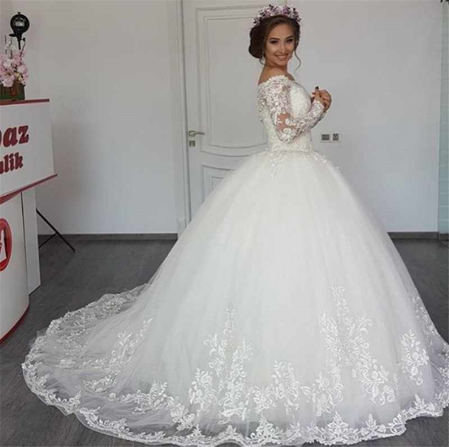 vestidos de novia Elegant Off the Shoulder Wedding Dresses Ball Gown Modest Long Sleeve Appliqued Tulle