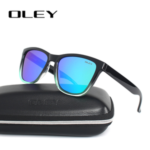 OLEY Зеркальные Солнцезащитные очки мужские классические Квадратные Солнцезащитные очки женские поляризационные градиентная оправа фирмен...